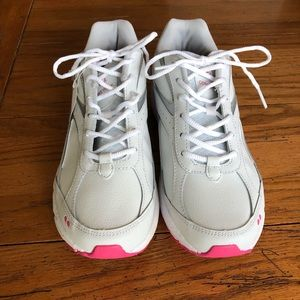 Chunky white running shoes